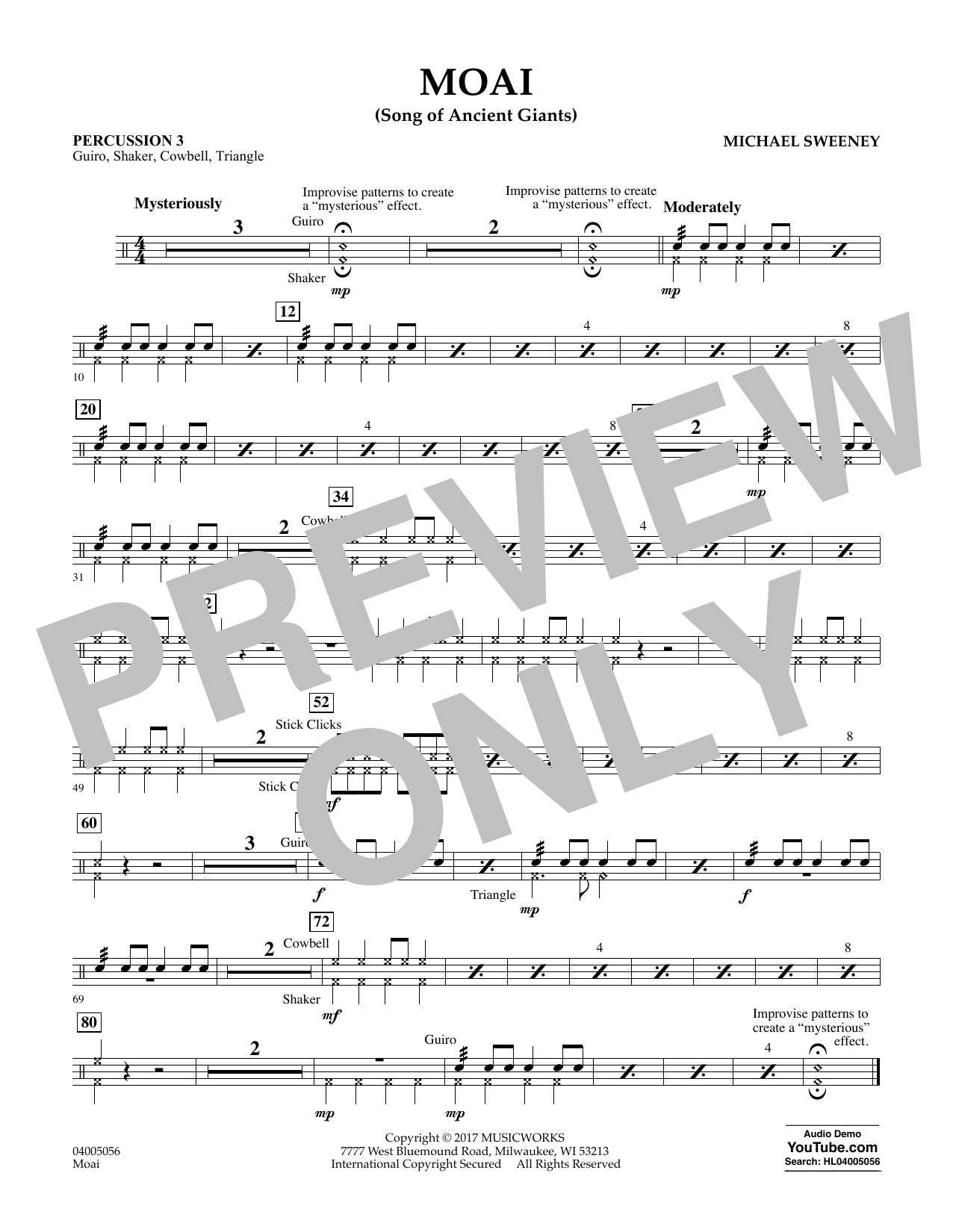 Michael Sweeney Moai (Songs of Ancient Giants) - Percussion 3 sheet music notes and chords. Download Printable PDF.