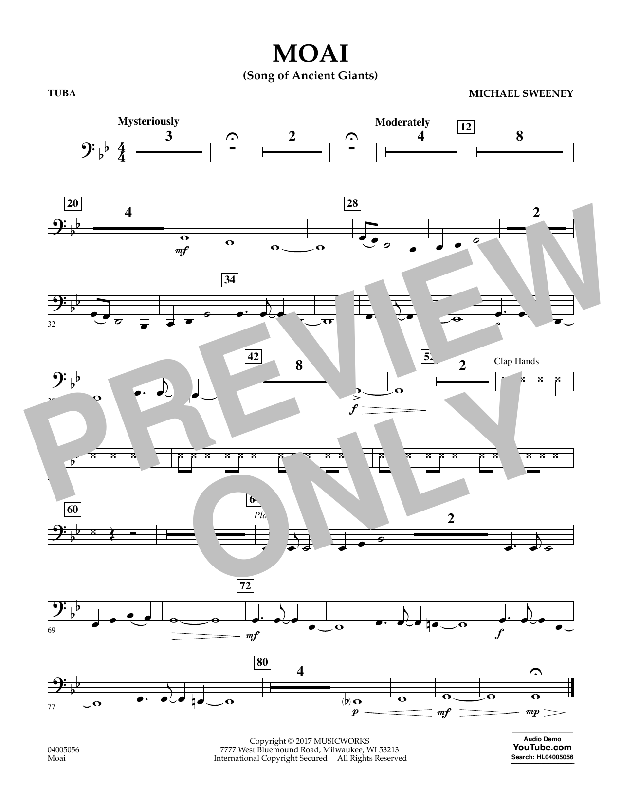 Michael Sweeney Moai (Songs of Ancient Giants) - Tuba sheet music notes and chords. Download Printable PDF.