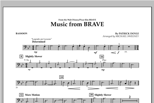 Michael Sweeney Music From Brave - Bassoon sheet music notes and chords. Download Printable PDF.