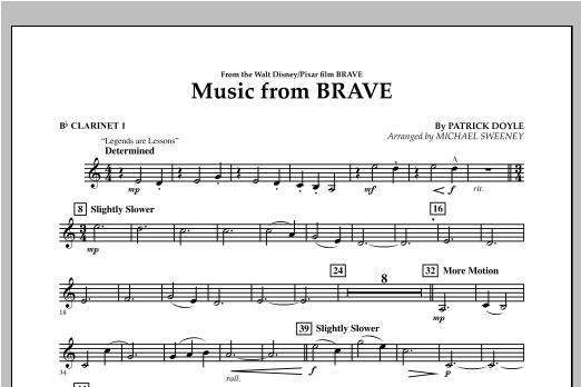 Michael Sweeney Music From Brave - Bb Clarinet 1 sheet music notes and chords. Download Printable PDF.