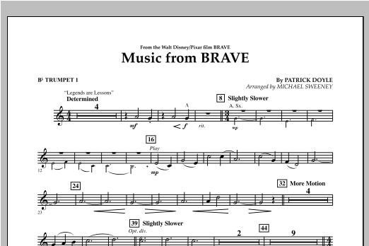 Michael Sweeney Music From Brave - Bb Trumpet 1 sheet music notes and chords. Download Printable PDF.