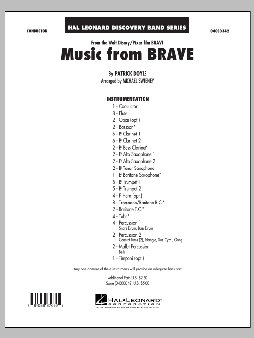 Michael Sweeney Music From Brave - Conductor Score (Full Score) sheet music notes and chords. Download Printable PDF.