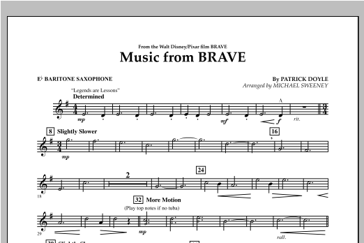 Michael Sweeney Music From Brave - Eb Baritone Saxophone sheet music notes and chords. Download Printable PDF.