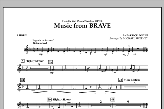 Michael Sweeney Music From Brave - F Horn sheet music notes and chords. Download Printable PDF.