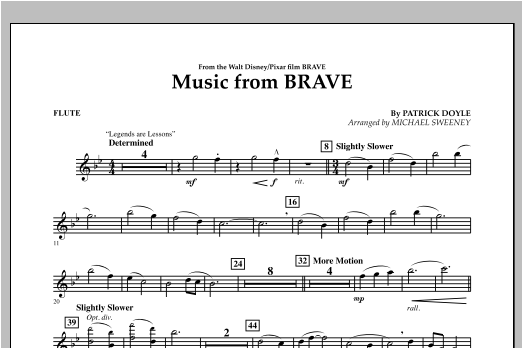 Michael Sweeney Music From Brave - Flute sheet music notes and chords. Download Printable PDF.