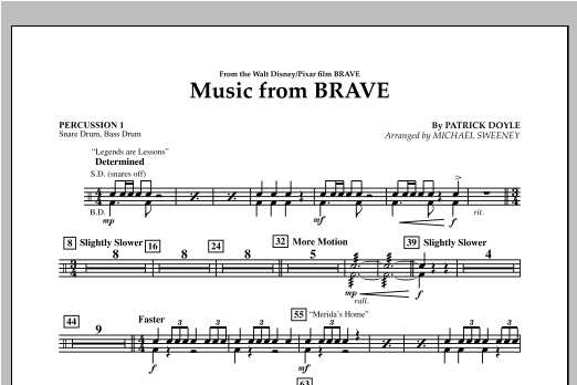 Michael Sweeney Music From Brave - Percussion 1 sheet music notes and chords. Download Printable PDF.