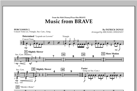 Michael Sweeney Music From Brave - Percussion 2 sheet music notes and chords. Download Printable PDF.