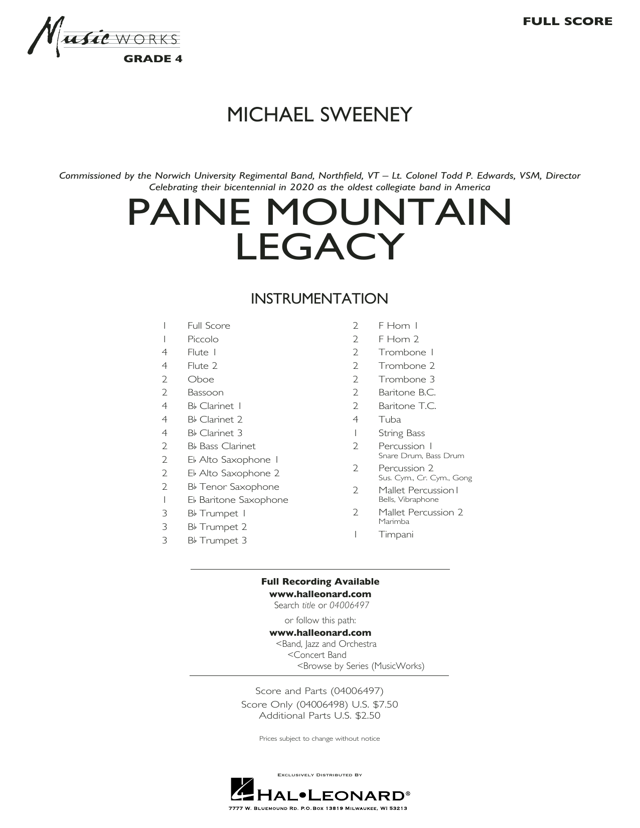 Michael Sweeney Paine Mountain Legacy - Conductor Score (Full Score) sheet music notes and chords. Download Printable PDF.