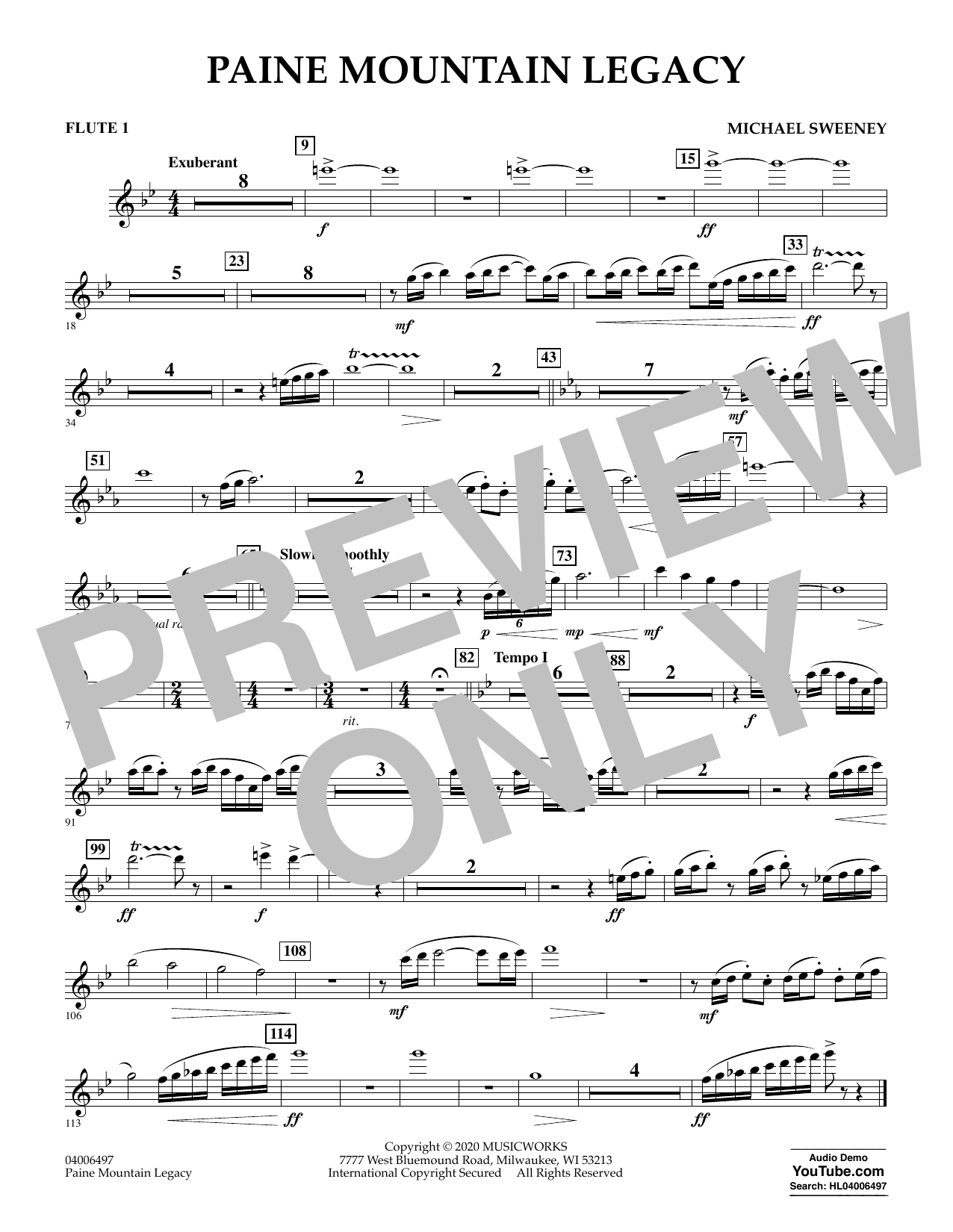Michael Sweeney Paine Mountain Legacy - Flute 1 sheet music notes and chords. Download Printable PDF.