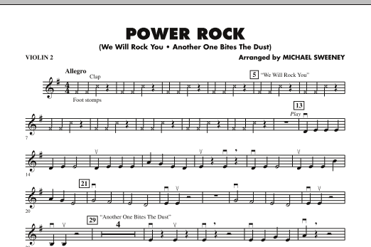 Michael Sweeney Power Rock - Violin 2 sheet music notes and chords. Download Printable PDF.