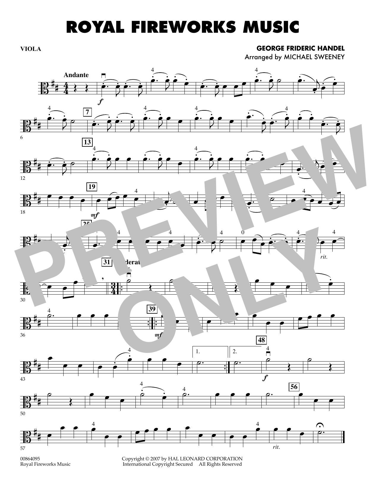 Michael Sweeney Royal Fireworks Music - Viola sheet music notes and chords. Download Printable PDF.