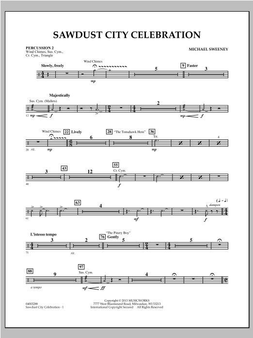 Michael Sweeney Sawdust City Celebration - Percussion 2 sheet music notes and chords. Download Printable PDF.