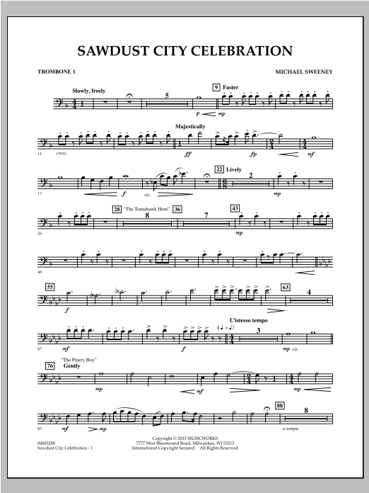Michael Sweeney Sawdust City Celebration - Trombone 1 sheet music notes and chords. Download Printable PDF.