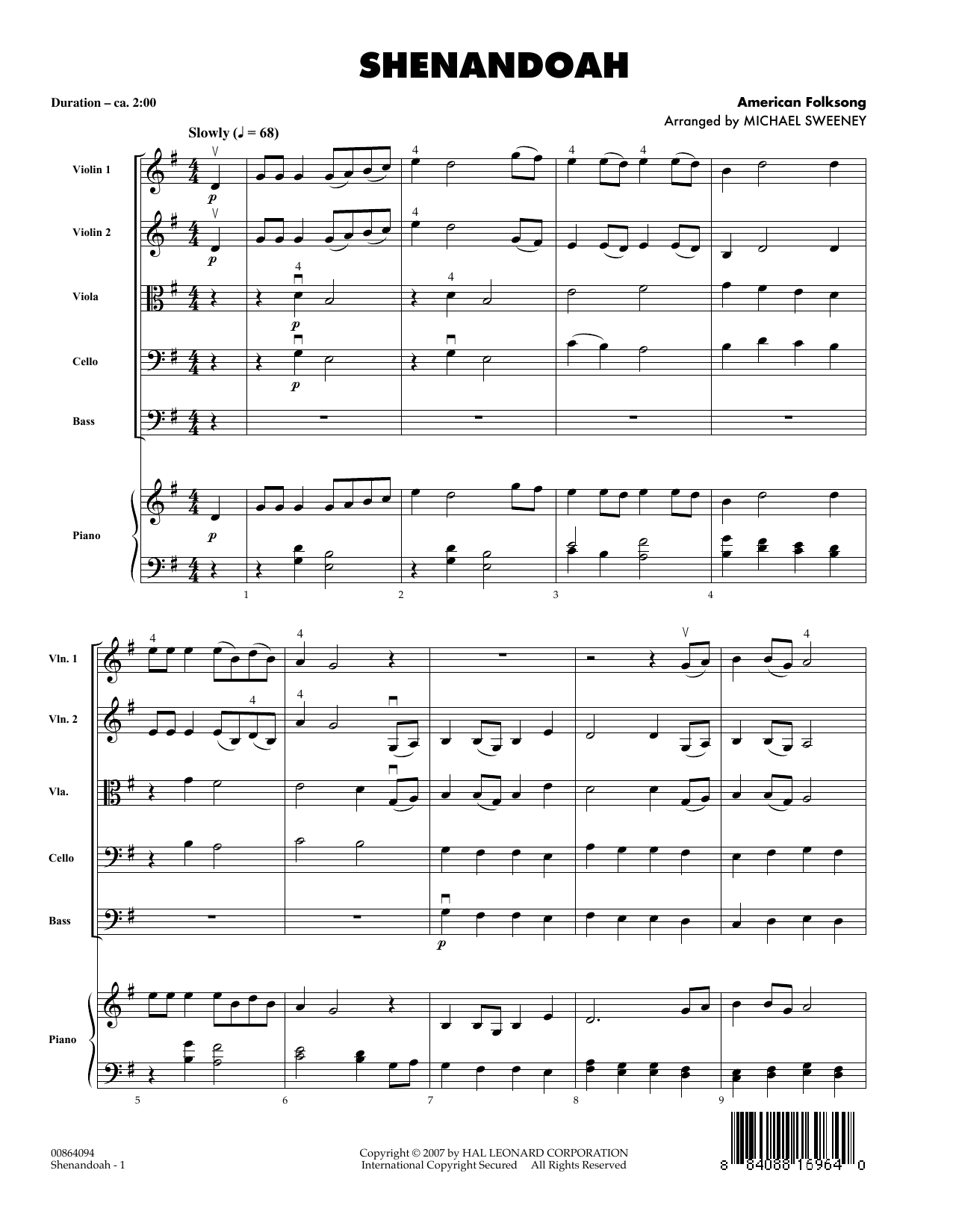 Michael Sweeney Shenandoah - Full Score sheet music notes and chords. Download Printable PDF.