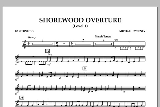 Michael Sweeney Shorewood Overture (for Multi-level Combined Bands) - Baritone T.C. (Level 1) sheet music notes and chords. Download Printable PDF.