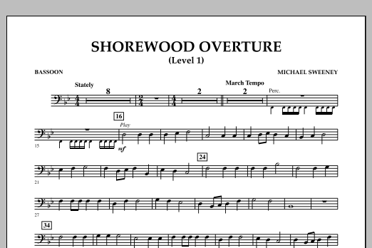 Michael Sweeney Shorewood Overture (for Multi-level Combined Bands) - Bassoon (Level 1) sheet music notes and chords. Download Printable PDF.