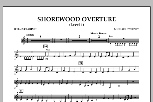 Michael Sweeney Shorewood Overture (for Multi-level Combined Bands) - Bb Bass Clarinet (Level 1) sheet music notes and chords. Download Printable PDF.