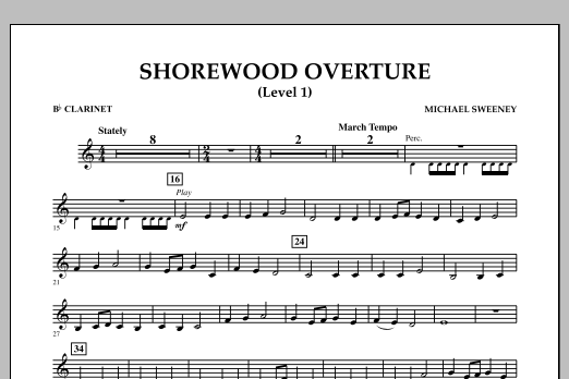 Michael Sweeney Shorewood Overture (for Multi-level Combined Bands) - Bb Clarinet (Level 1) sheet music notes and chords. Download Printable PDF.