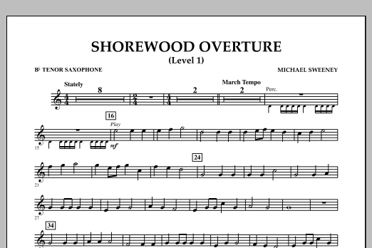 Michael Sweeney Shorewood Overture (for Multi-level Combined Bands) - Bb Tenor Saxophone (Level 1) sheet music notes and chords. Download Printable PDF.