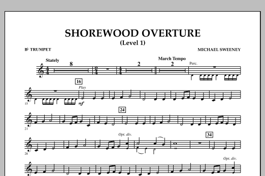 Michael Sweeney Shorewood Overture (for Multi-level Combined Bands) - Bb Trumpet (Level 1) sheet music notes and chords. Download Printable PDF.