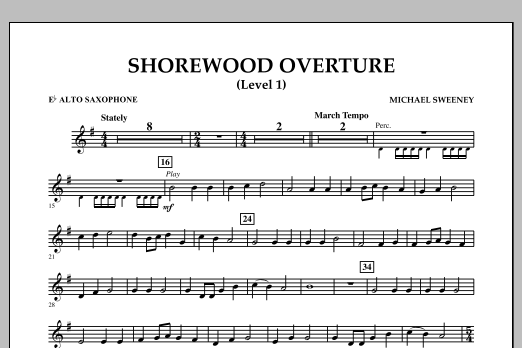 Michael Sweeney Shorewood Overture (for Multi-level Combined Bands) - Eb Alto Saxophone (Level 1) sheet music notes and chords. Download Printable PDF.