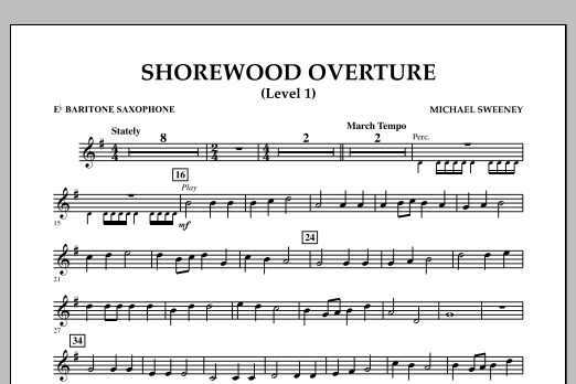 Michael Sweeney Shorewood Overture (for Multi-level Combined Bands) - Eb Baritone Saxophone (Level 1 sheet music notes and chords. Download Printable PDF.