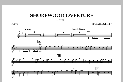 Michael Sweeney Shorewood Overture (for Multi-level Combined Bands) - Flute (Level 1) sheet music notes and chords. Download Printable PDF.