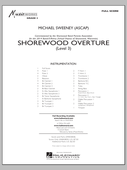 Michael Sweeney Shorewood Overture (for Multi-level Combined Bands) - Full Score (Level 3) sheet music notes and chords. Download Printable PDF.