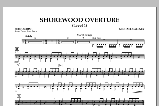 Michael Sweeney Shorewood Overture (for Multi-level Combined Bands) - Percussion 1 (Level 1) sheet music notes and chords. Download Printable PDF.