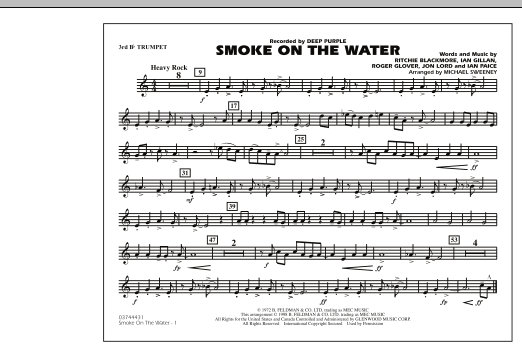 Michael Sweeney Smoke On The Water - 3rd Bb Trumpet sheet music notes and chords. Download Printable PDF.