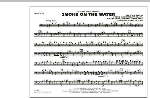 Michael Sweeney Smoke On The Water - Trombone sheet music notes and chords. Download Printable PDF.
