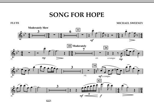 Michael Sweeney Song For Hope - Flute sheet music notes and chords. Download Printable PDF.
