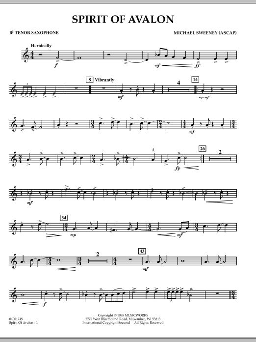 Michael Sweeney Spirit Of Avalon - Bb Tenor Saxophone sheet music notes and chords. Download Printable PDF.