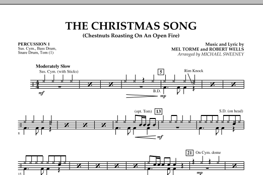 Michael Sweeney The Christmas Song (Chestnuts Roasting On An Open Fire) - Percussion 1 sheet music notes and chords. Download Printable PDF.