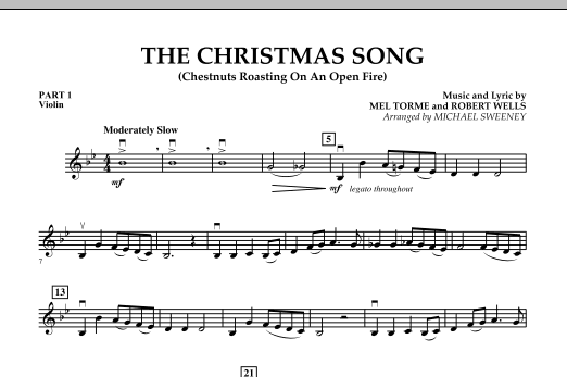 Michael Sweeney The Christmas Song (Chestnuts Roasting On An Open Fire) - Pt.1: Violin sheet music notes and chords. Download Printable PDF.