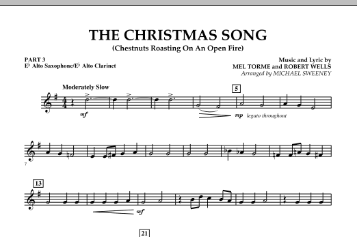 Michael Sweeney The Christmas Song (Chestnuts Roasting On An Open Fire) - Pt.3: Eb Alto Sax/Alto Clar. sheet music notes and chords. Download Printable PDF.
