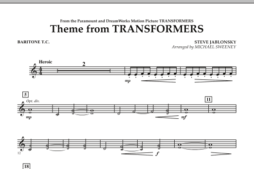 Michael Sweeney Theme From Transformers - Baritone T.C. sheet music notes and chords. Download Printable PDF.