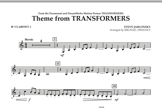 Michael Sweeney Theme From Transformers - Bb Clarinet 1 sheet music notes and chords. Download Printable PDF.