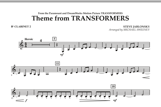 Michael Sweeney Theme From Transformers - Bb Clarinet 2 sheet music notes and chords. Download Printable PDF.
