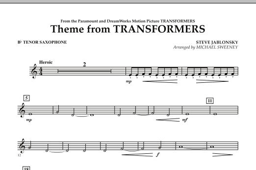 Michael Sweeney Theme From Transformers - Bb Tenor Saxophone sheet music notes and chords. Download Printable PDF.
