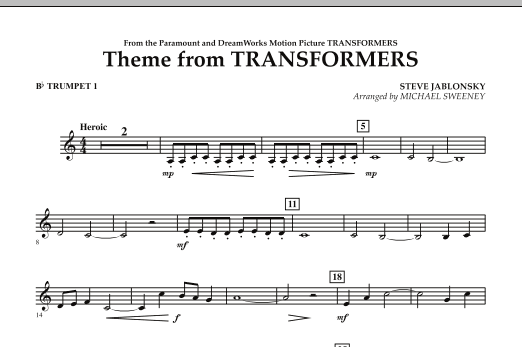 Michael Sweeney Theme From Transformers - Bb Trumpet 1 sheet music notes and chords. Download Printable PDF.