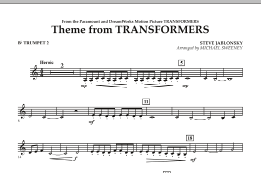 Michael Sweeney Theme From Transformers - Bb Trumpet 2 sheet music notes and chords. Download Printable PDF.