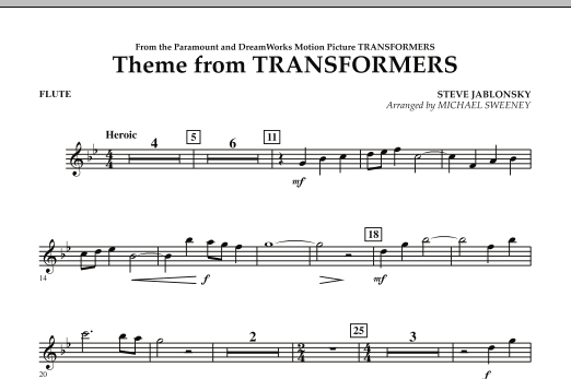 Michael Sweeney Theme From Transformers - Flute sheet music notes and chords. Download Printable PDF.