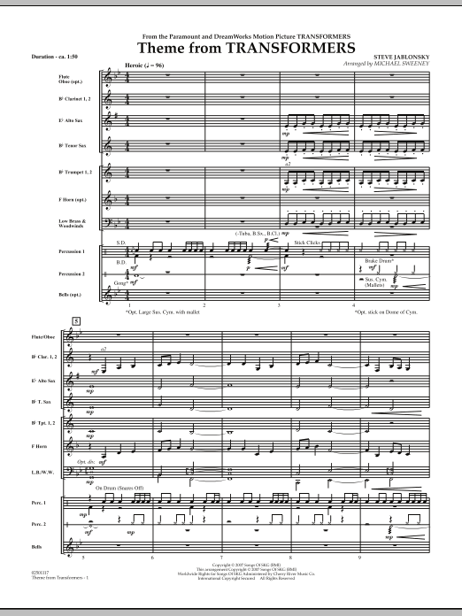 Michael Sweeney Theme From Transformers - Full Score sheet music notes and chords. Download Printable PDF.