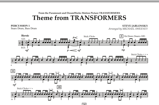 Michael Sweeney Theme From Transformers - Percussion 1 sheet music notes and chords. Download Printable PDF.