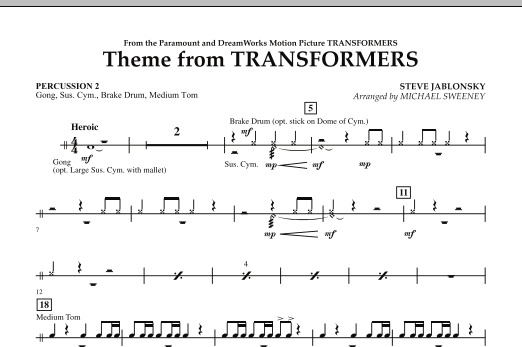 Michael Sweeney Theme From Transformers - Percussion 2 sheet music notes and chords. Download Printable PDF.