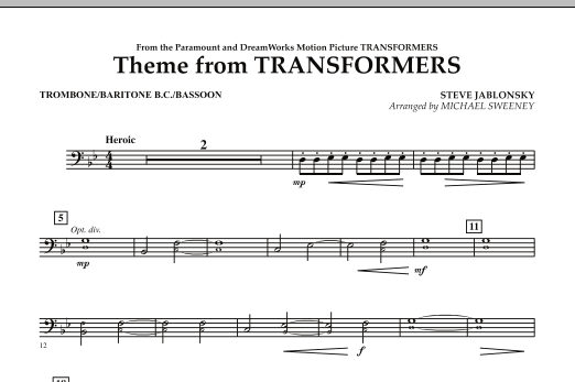 Michael Sweeney Theme From Transformers - Trombone/Baritone B.C./Bassoon sheet music notes and chords. Download Printable PDF.