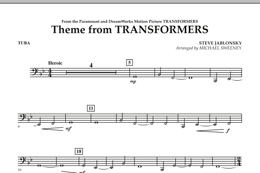 Michael Sweeney Theme From Transformers - Tuba sheet music notes and chords. Download Printable PDF.