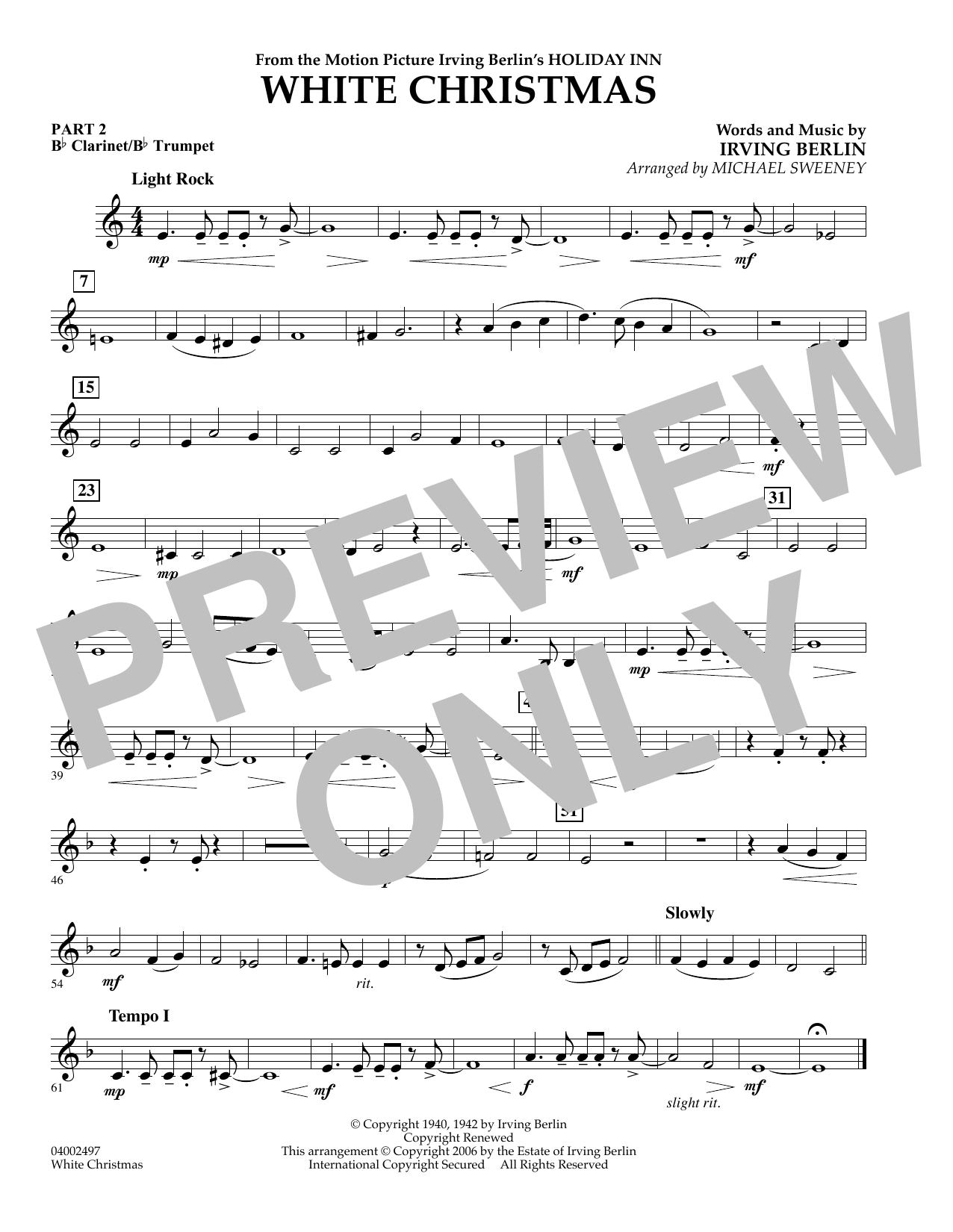 Michael Sweeney White Christmas (Flex-Band) - Pt.2 - Bb Clarinet/Bb Trumpet sheet music notes and chords