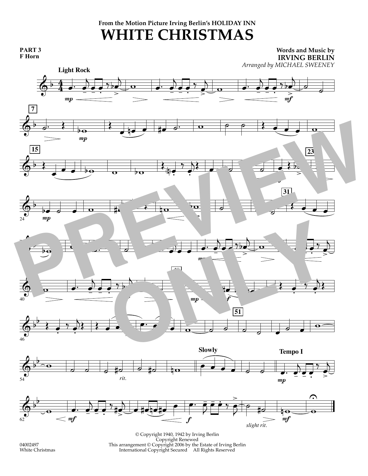 Michael Sweeney White Christmas (Flex-Band) - Pt.3 - F Horn sheet music notes and chords